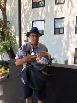 Frank the postman with coconut